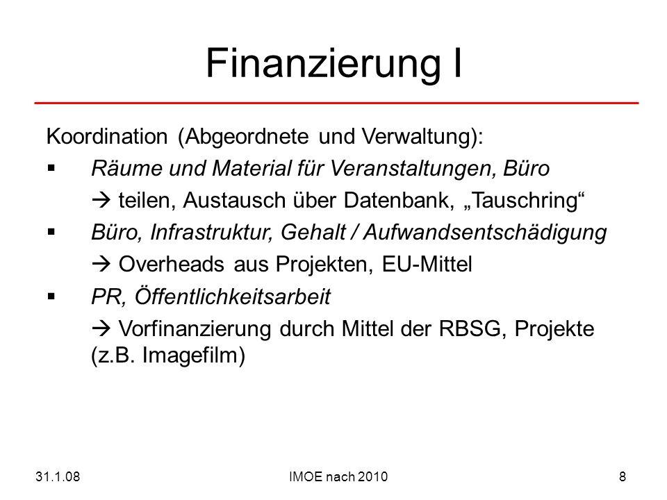 IMOE nach 201031.1.089 Finanzierung II AG Mitgliederbetreuung: Netzwerktreffen projektbezogenes Fundraising AG Kleinprojekte: Fonds Fundraising Verwaltung AG Professionalisierung: Fortbildung Beiträge von Teilnehmern (IMOE und Externe), ggf.