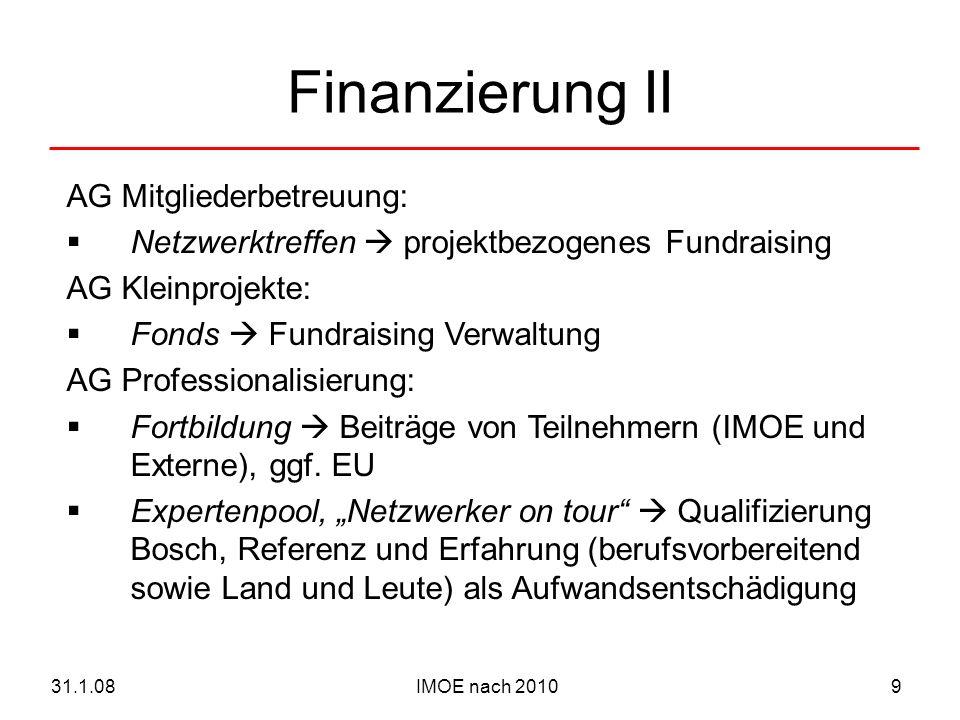IMOE nach 201031.1.089 Finanzierung II AG Mitgliederbetreuung: Netzwerktreffen projektbezogenes Fundraising AG Kleinprojekte: Fonds Fundraising Verwal