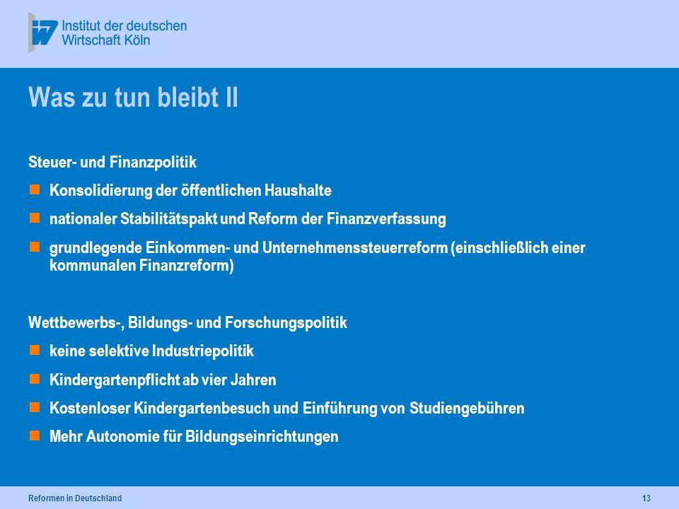 Reformen in Deutschland13 Was zu tun bleibt II Steuer- und Finanzpolitik Konsolidierung der öffentlichen Haushalte nationaler Stabilitätspakt und Refo