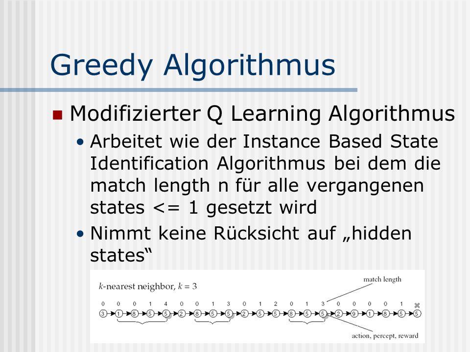 Greedy Algorithmus Modifizierter Q Learning Algorithmus Arbeitet wie der Instance Based State Identification Algorithmus bei dem die match length n für alle vergangenen states <= 1 gesetzt wird Nimmt keine Rücksicht auf hidden states