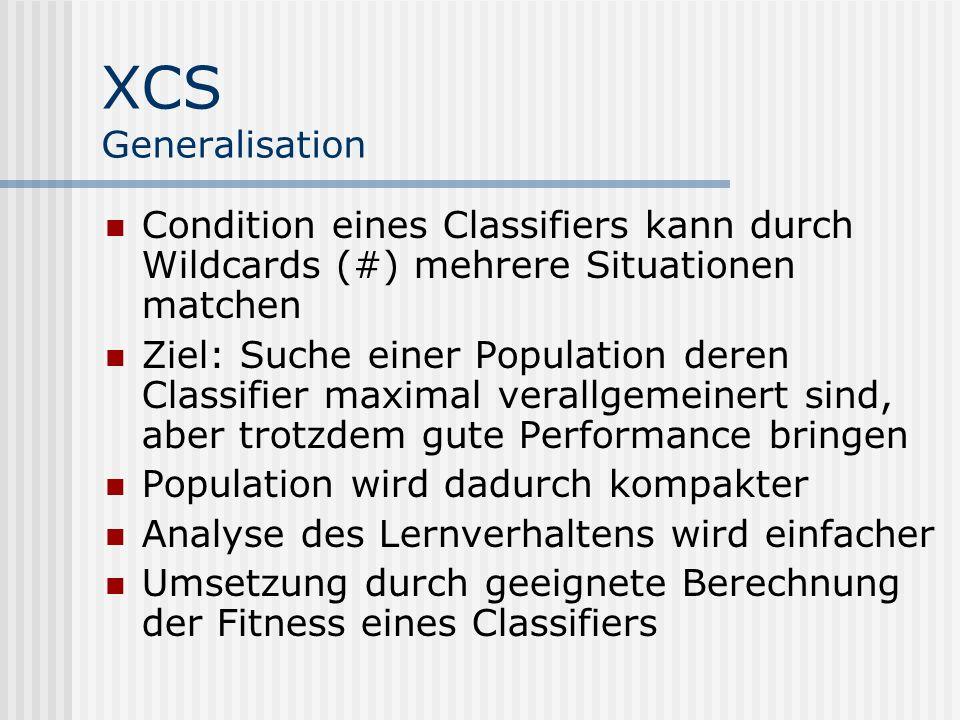XCS Generalisation Condition eines Classifiers kann durch Wildcards (#) mehrere Situationen matchen Ziel: Suche einer Population deren Classifier maximal verallgemeinert sind, aber trotzdem gute Performance bringen Population wird dadurch kompakter Analyse des Lernverhaltens wird einfacher Umsetzung durch geeignete Berechnung der Fitness eines Classifiers
