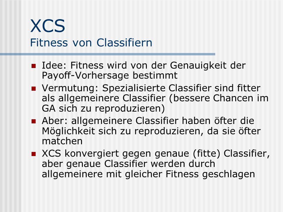 XCS Fitness von Classifiern Idee: Fitness wird von der Genauigkeit der Payoff-Vorhersage bestimmt Vermutung: Spezialisierte Classifier sind fitter als allgemeinere Classifier (bessere Chancen im GA sich zu reproduzieren) Aber: allgemeinere Classifier haben öfter die Möglichkeit sich zu reproduzieren, da sie öfter matchen XCS konvergiert gegen genaue (fitte) Classifier, aber genaue Classifier werden durch allgemeinere mit gleicher Fitness geschlagen