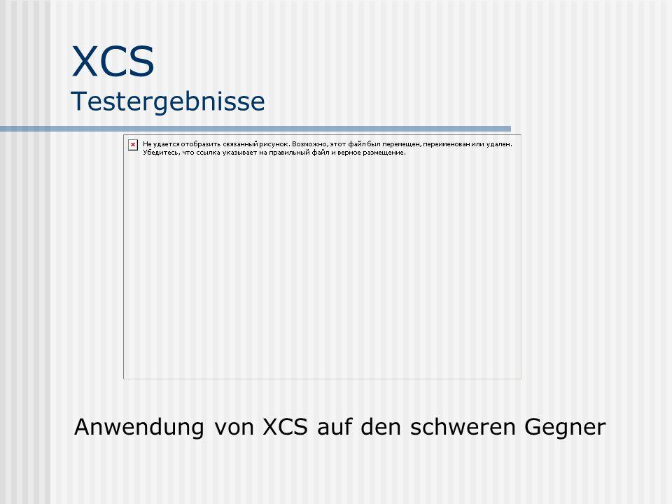 XCS Testergebnisse Anwendung von XCS auf den schweren Gegner