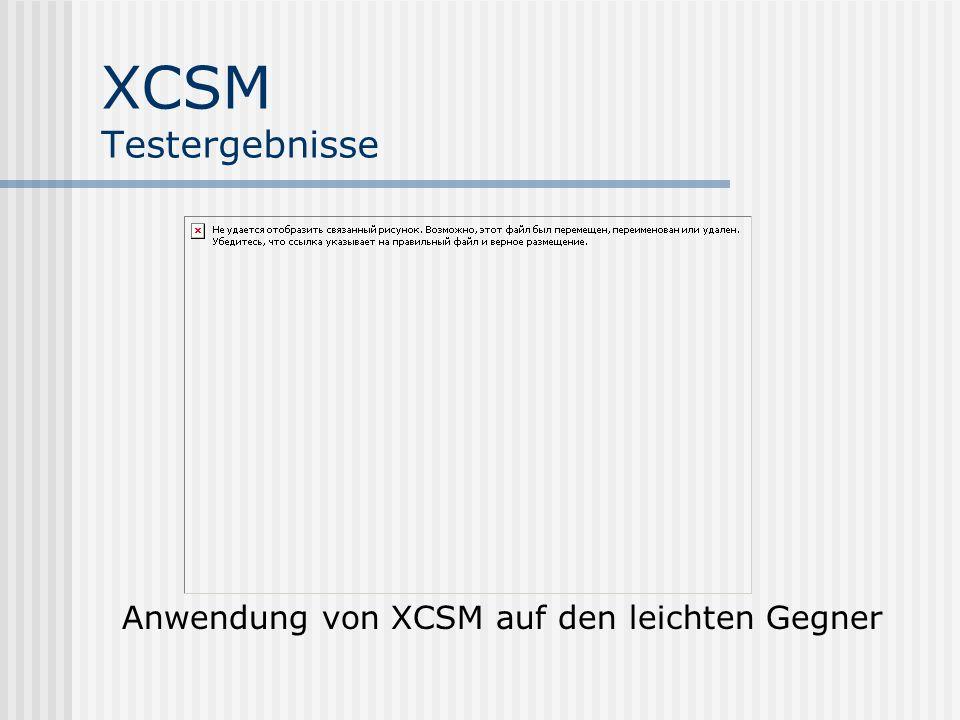 XCSM Testergebnisse Anwendung von XCSM auf den leichten Gegner