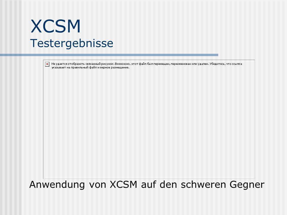 XCSM Testergebnisse Anwendung von XCSM auf den schweren Gegner