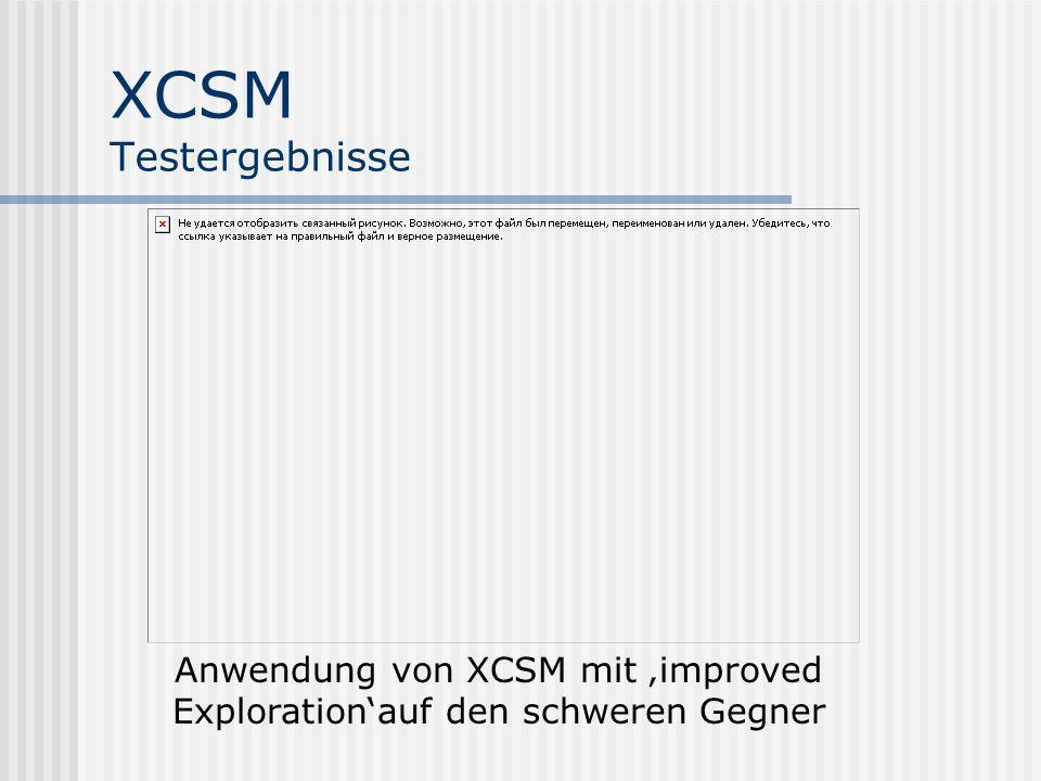 XCSM Testergebnisse Anwendung von XCSM mit improved Explorationauf den schweren Gegner