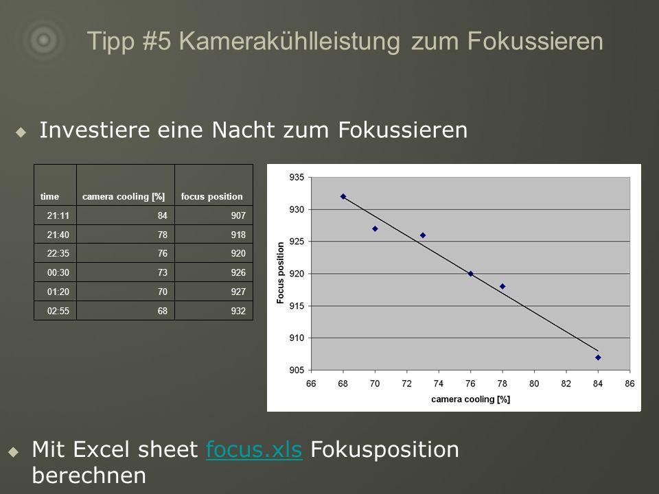 Tipp #5 Kamerakühlleistung zum Fokussieren 9326802:55 9277001:20 9267300:30 9207622:35 9187821:40 9078421:11 focus positioncamera cooling [%]time Investiere eine Nacht zum Fokussieren Mit Excel sheet focus.xls Fokusposition berechnenfocus.xls