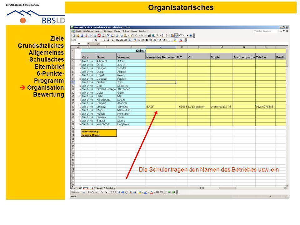 Organisatorisches Ziele Grundsätzliches Allgemeines Schulisches Elternbrief 6-Punkte- Programm Organisation Bewertung Die Schüler tragen den Namen des Betriebes usw.