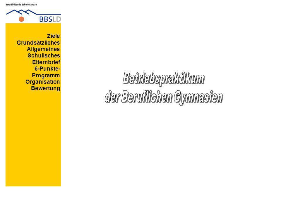 Ziele Grundsätzliches Allgemeines Schulisches Elternbrief 6-Punkte- Programm Organisation Bewertung