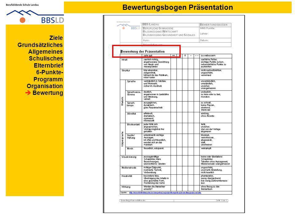 Bewertungsbogen Präsentation Ziele Grundsätzliches Allgemeines Schulisches Elternbrief 6-Punkte- Programm Organisation Bewertung