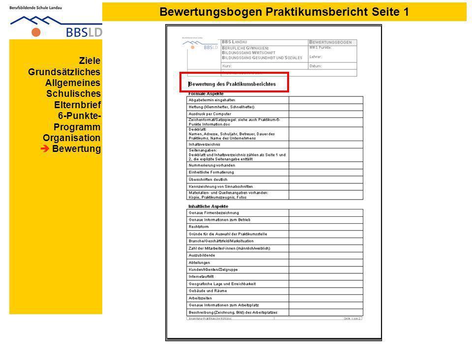 Bewertungsbogen Praktikumsbericht Seite 1 Ziele Grundsätzliches Allgemeines Schulisches Elternbrief 6-Punkte- Programm Organisation Bewertung
