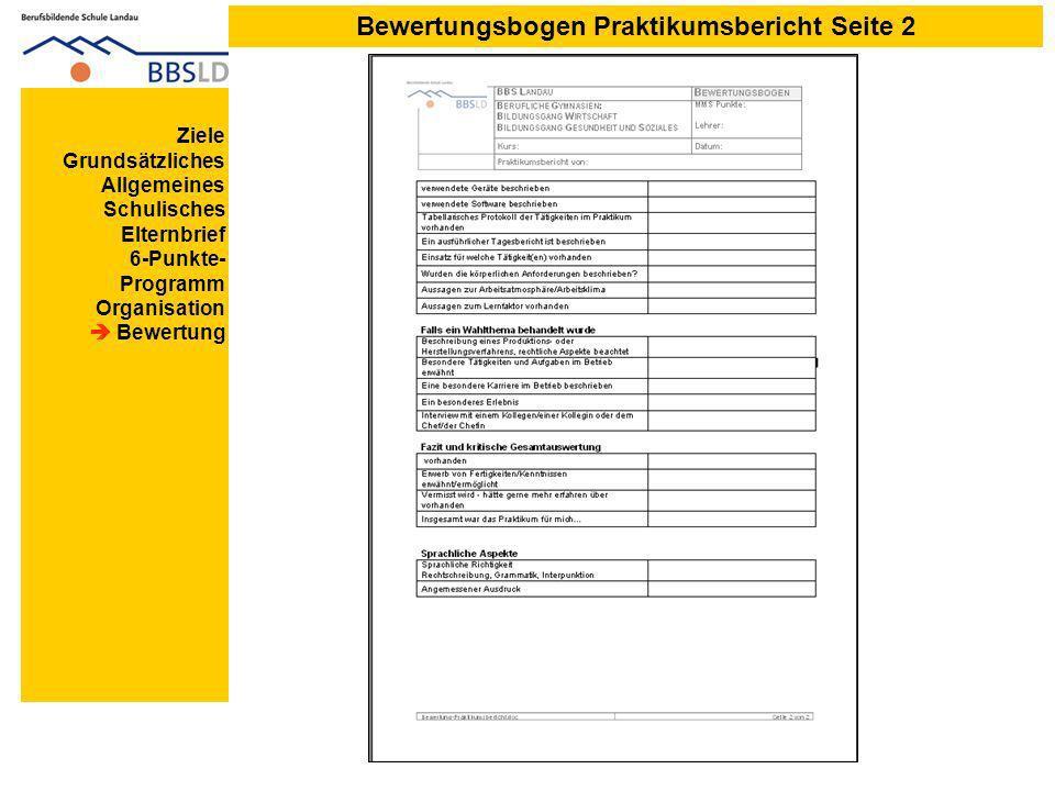 Bewertungsbogen Praktikumsbericht Seite 2 Ziele Grundsätzliches Allgemeines Schulisches Elternbrief 6-Punkte- Programm Organisation Bewertung