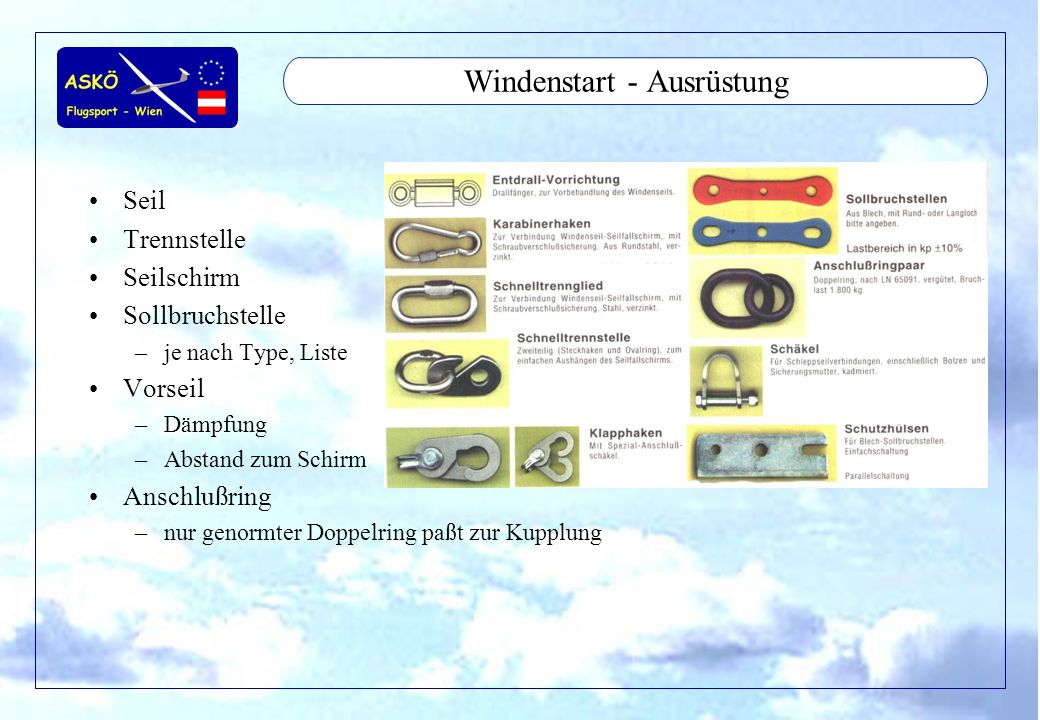 11/2001by Andreas Winkler14 Windenstart - Ausrüstung Seil Trennstelle Seilschirm Sollbruchstelle –je nach Type, Liste Vorseil –Dämpfung –Abstand zum Schirm Anschlußring –nur genormter Doppelring paßt zur Kupplung