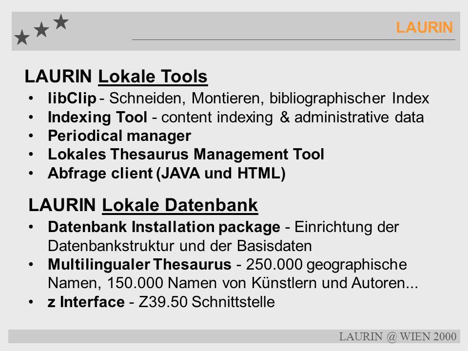 LAURIN @ WIEN 2000 LAURIN LAURIN - ein verteiltes, digitales System Aufgaben auf lokaler Ebene Acquisition Beschlagwortung Lokales Thesaurus Managemen