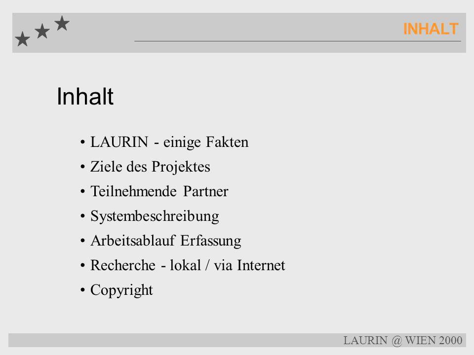 Inhalt INHALT LAURIN - einige Fakten Ziele des Projektes Teilnehmende Partner Systembeschreibung Arbeitsablauf Erfassung Recherche - lokal / via Internet Copyright LAURIN @ WIEN 2000