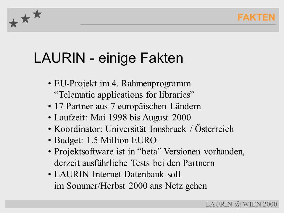 LAURIN @ WIEN 2000 LAURIN Distributed Database Daten Replikation Index Daten Zentraler Knoten Datenbank Server Lokaler Datenbank Server Uppsala Lokaler Datenbank Server Barcelona Lokaler Datenbank Server Rom