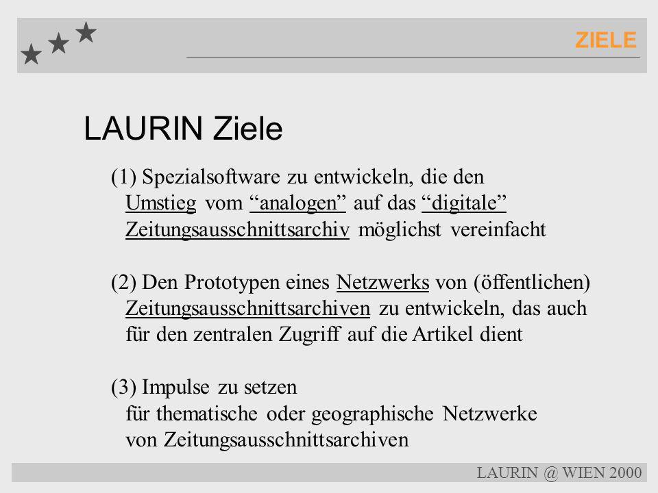 LAURIN Ziele ZIELE (1) Spezialsoftware zu entwickeln, die den Umstieg vom analogen auf das digitale Zeitungsausschnittsarchiv möglichst vereinfacht (2) Den Prototypen eines Netzwerks von (öffentlichen) Zeitungsausschnittsarchiven zu entwickeln, das auch für den zentralen Zugriff auf die Artikel dient (3) Impulse zu setzen für thematische oder geographische Netzwerke von Zeitungsausschnittsarchiven LAURIN @ WIEN 2000