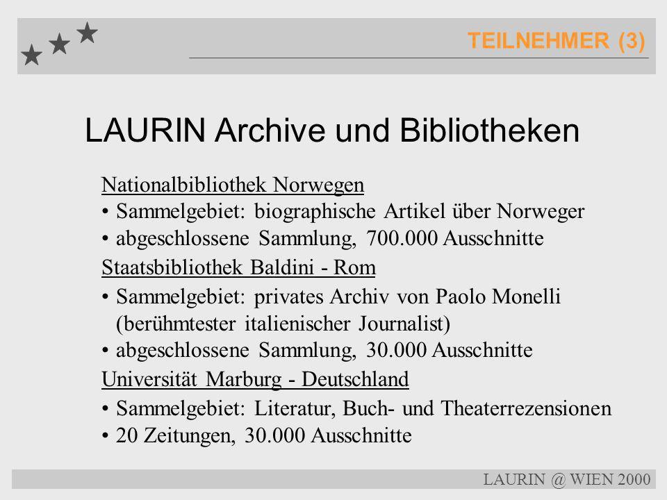 LAURIN Archive und Bibliotheken TEILNEHMER (2) Centre Documentació Política - Barcelona Sammelgebiet: Katalonische Politik 150 Zeitungen, 750.000 Auss