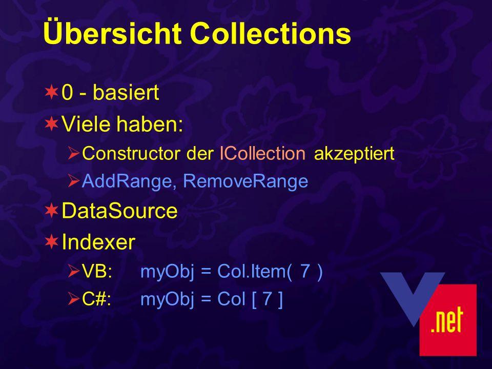 Übersicht Collections 0 - basiert Viele haben: Constructor der ICollection akzeptiert AddRange, RemoveRange DataSource Indexer VB: myObj = Col.Item( 7 ) C#: myObj = Col [ 7 ]