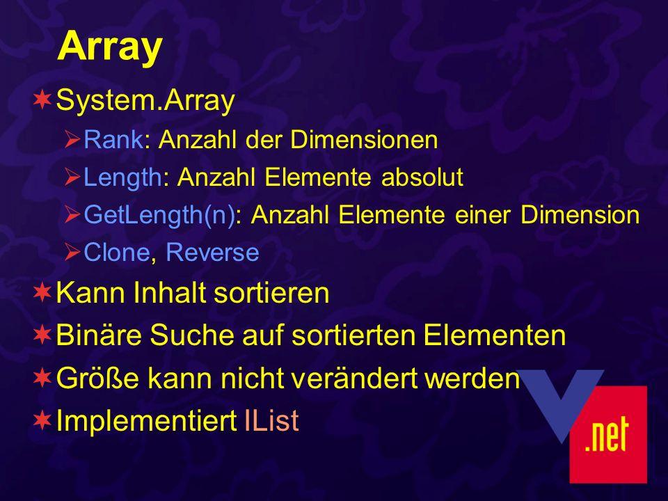 Array System.Array Rank: Anzahl der Dimensionen Length: Anzahl Elemente absolut GetLength(n): Anzahl Elemente einer Dimension Clone, Reverse Kann Inhalt sortieren Binäre Suche auf sortierten Elementen Größe kann nicht verändert werden Implementiert IList