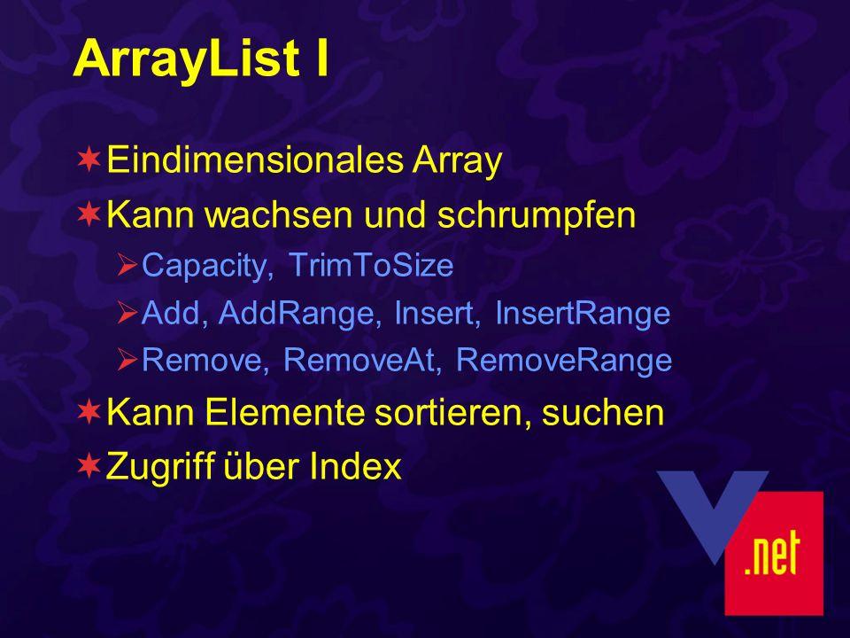 ArrayList I Eindimensionales Array Kann wachsen und schrumpfen Capacity, TrimToSize Add, AddRange, Insert, InsertRange Remove, RemoveAt, RemoveRange Kann Elemente sortieren, suchen Zugriff über Index