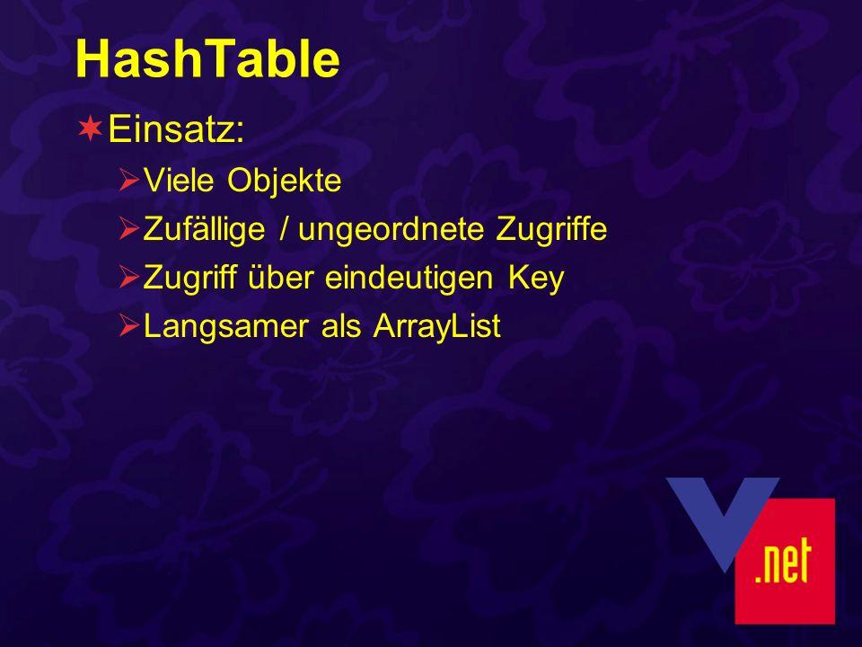HashTable Einsatz: Viele Objekte Zufällige / ungeordnete Zugriffe Zugriff über eindeutigen Key Langsamer als ArrayList