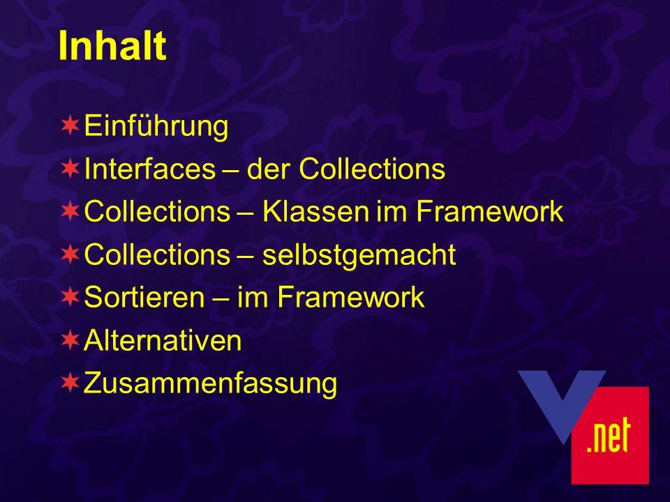 Inhalt Einführung Interfaces – der Collections Collections – Klassen im Framework Collections – selbstgemacht Sortieren – im Framework Alternativen Zusammenfassung