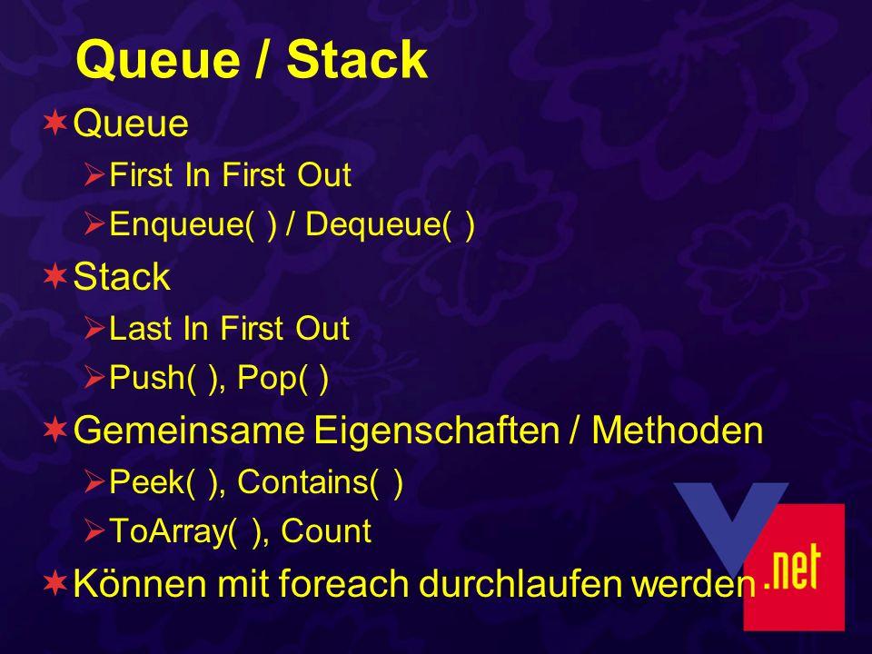 Queue / Stack Queue First In First Out Enqueue( ) / Dequeue( ) Stack Last In First Out Push( ), Pop( ) Gemeinsame Eigenschaften / Methoden Peek( ), Contains( ) ToArray( ), Count Können mit foreach durchlaufen werden