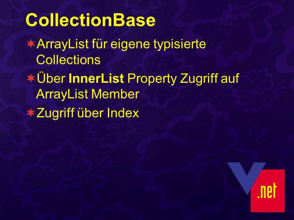 CollectionBase ArrayList für eigene typisierte Collections Über InnerList Property Zugriff auf ArrayList Member Zugriff über Index