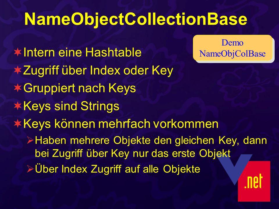NameObjectCollectionBase Intern eine Hashtable Zugriff über Index oder Key Gruppiert nach Keys Keys sind Strings Keys können mehrfach vorkommen Haben mehrere Objekte den gleichen Key, dann bei Zugriff über Key nur das erste Objekt Über Index Zugriff auf alle Objekte Demo NameObjColBase