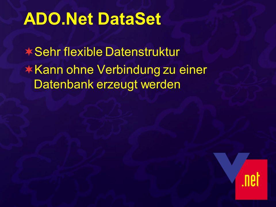 ADO.Net DataSet Sehr flexible Datenstruktur Kann ohne Verbindung zu einer Datenbank erzeugt werden