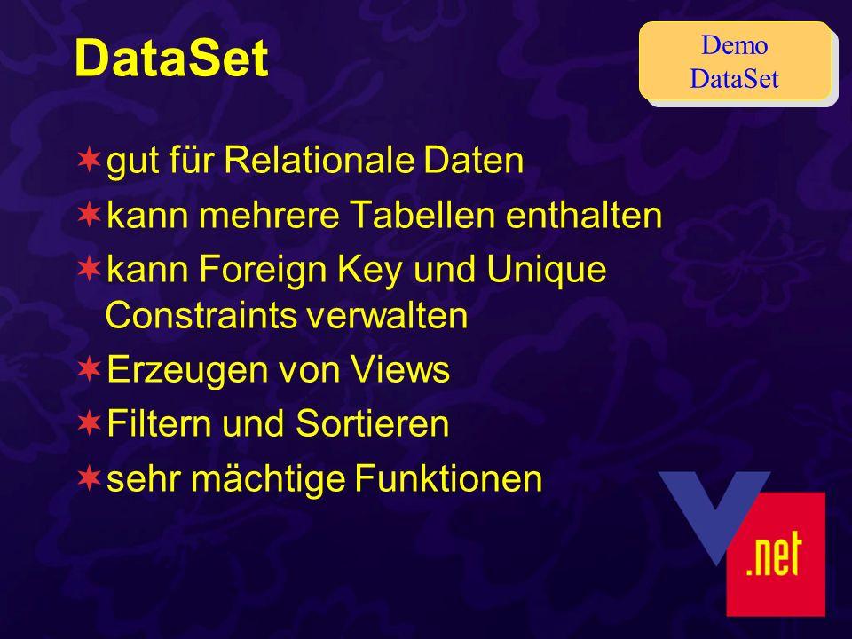 DataSet gut für Relationale Daten kann mehrere Tabellen enthalten kann Foreign Key und Unique Constraints verwalten Erzeugen von Views Filtern und Sortieren sehr mächtige Funktionen Demo DataSet