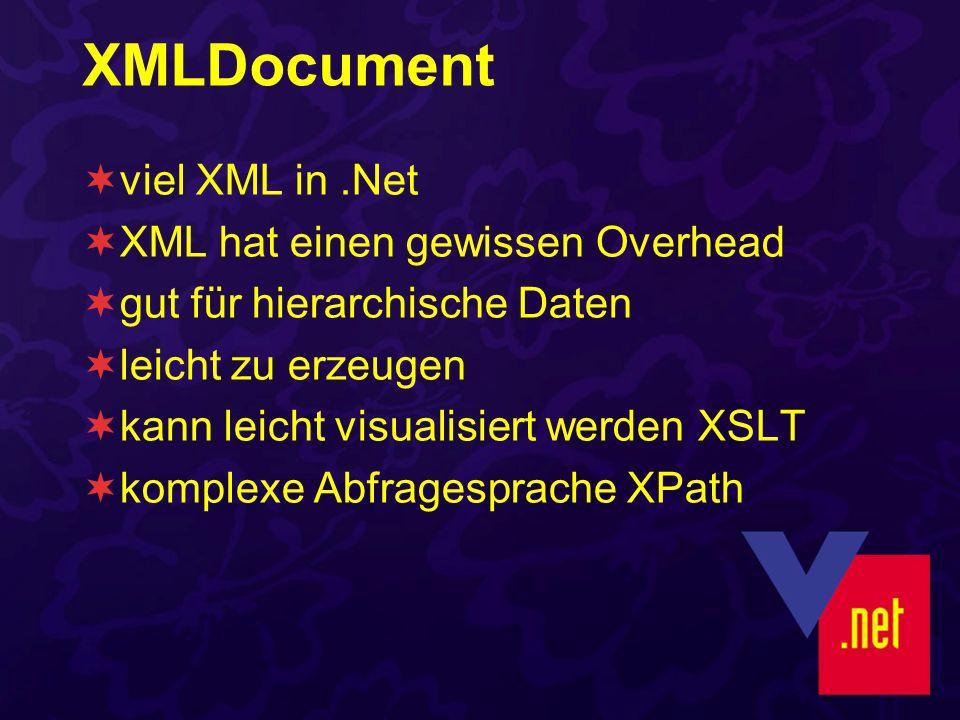 XMLDocument viel XML in.Net XML hat einen gewissen Overhead gut für hierarchische Daten leicht zu erzeugen kann leicht visualisiert werden XSLT komplexe Abfragesprache XPath