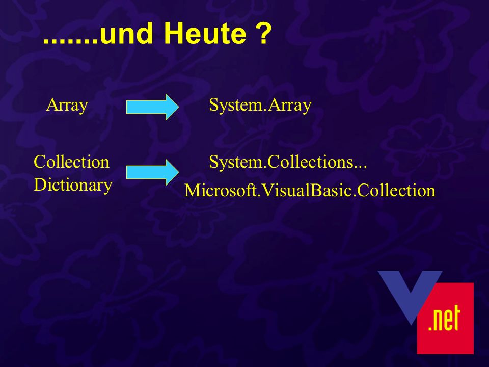.......und Heute . ArraySystem.Array Collection Dictionary System.Collections...