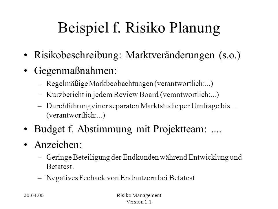 20.04.00Risiko Management Version 1.1 Beispiel f. Risiko Planung Risikobeschreibung: Marktveränderungen (s.o.) Gegenmaßnahmen: –Regelmäßige Markbeobac