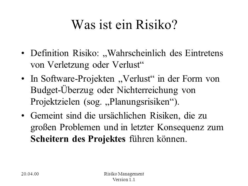 20.04.00Risiko Management Version 1.1 Was ist ein Risiko? Definition Risiko: Wahrscheinlich des Eintretens von Verletzung oder Verlust In Software-Pro