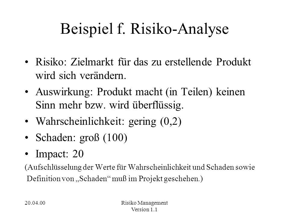 20.04.00Risiko Management Version 1.1 Beispiel f. Risiko-Analyse Risiko: Zielmarkt für das zu erstellende Produkt wird sich verändern. Auswirkung: Pro