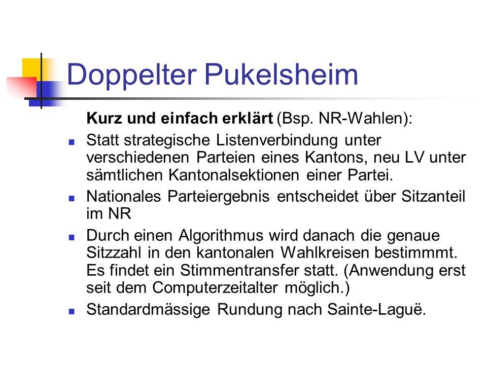 Doppelter Pukelsheim Kurz und einfach erklärt (Bsp. NR-Wahlen): Statt strategische Listenverbindung unter verschiedenen Parteien eines Kantons, neu LV