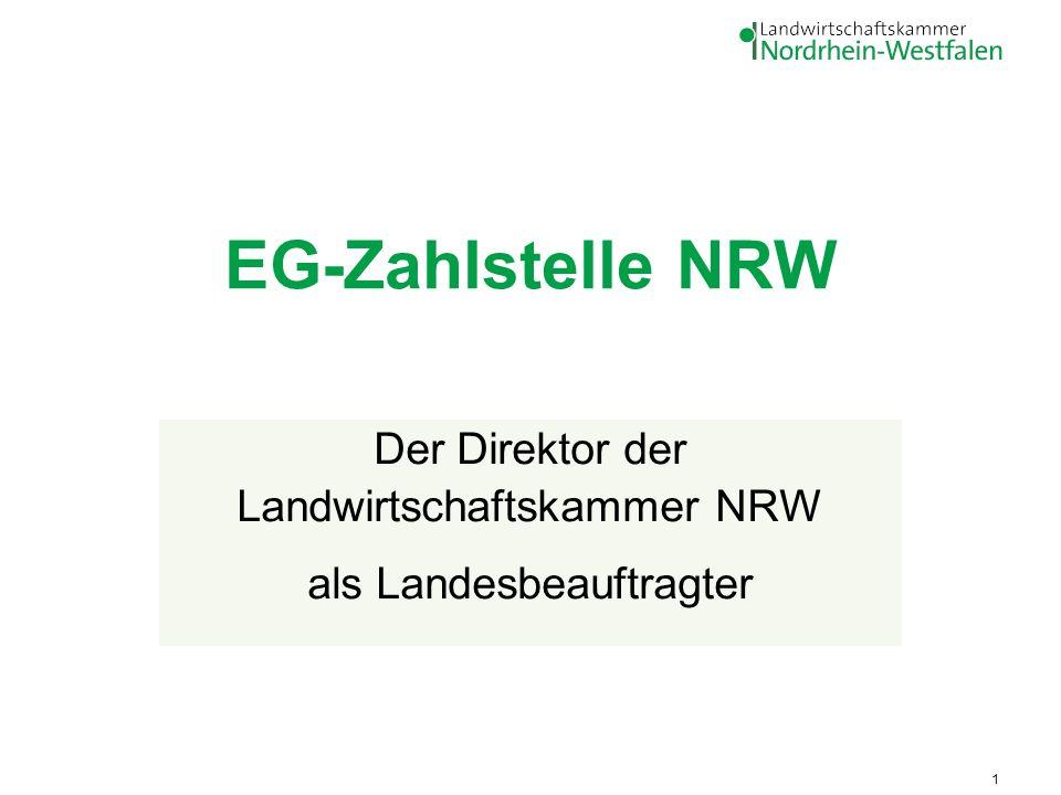 R. Müller-List, Ref.11 - Förderung, EG-Zahlstelle 1 EG-Zahlstelle NRW Der Direktor der Landwirtschaftskammer NRW als Landesbeauftragter