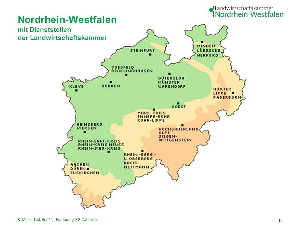 R. Müller-List, Ref.11 - Förderung, EG-Zahlstelle 10 Nordrhein-Westfalen mit Dienststellen der Landwirtschaftskammer
