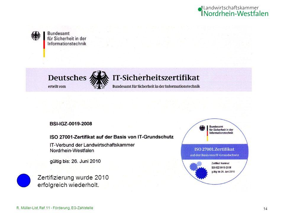 R. Müller-List, Ref.11 - Förderung, EG-Zahlstelle 14 Zertifizierung wurde 2010 erfolgreich wiederholt.