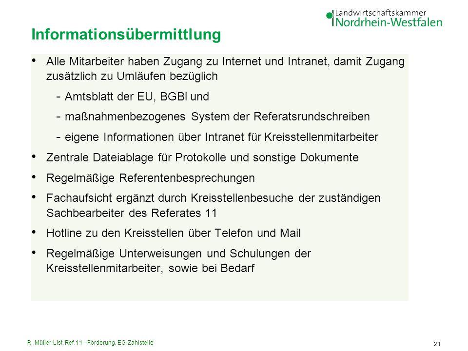 R. Müller-List, Ref.11 - Förderung, EG-Zahlstelle 21 Informationsübermittlung Alle Mitarbeiter haben Zugang zu Internet und Intranet, damit Zugang zus