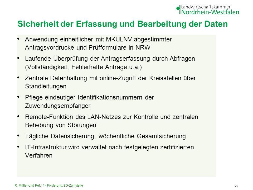 R. Müller-List, Ref.11 - Förderung, EG-Zahlstelle 22 Sicherheit der Erfassung und Bearbeitung der Daten Anwendung einheitlicher mit MKULNV abgestimmte