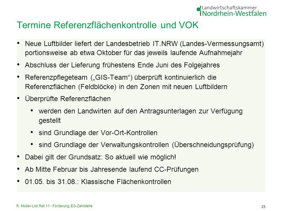 R. Müller-List, Ref.11 - Förderung, EG-Zahlstelle 25 Termine Referenzflächenkontrolle und VOK Neue Luftbilder liefert der Landesbetrieb IT.NRW (Landes