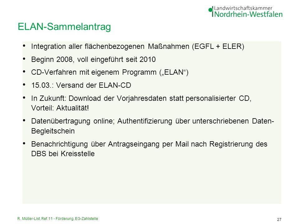 R. Müller-List, Ref.11 - Förderung, EG-Zahlstelle 27 ELAN-Sammelantrag Integration aller flächenbezogenen Maßnahmen (EGFL + ELER) Beginn 2008, voll ei