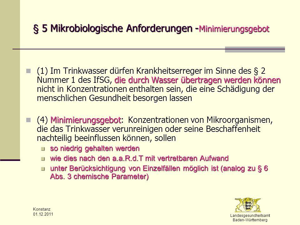 Landesgesundheitsamt Baden-Württemberg Konstanz 01.12.2011 § 5 Mikrobiologische Anforderungen - Minimierungsgebot (1) Im Trinkwasser dürfen Krankheits