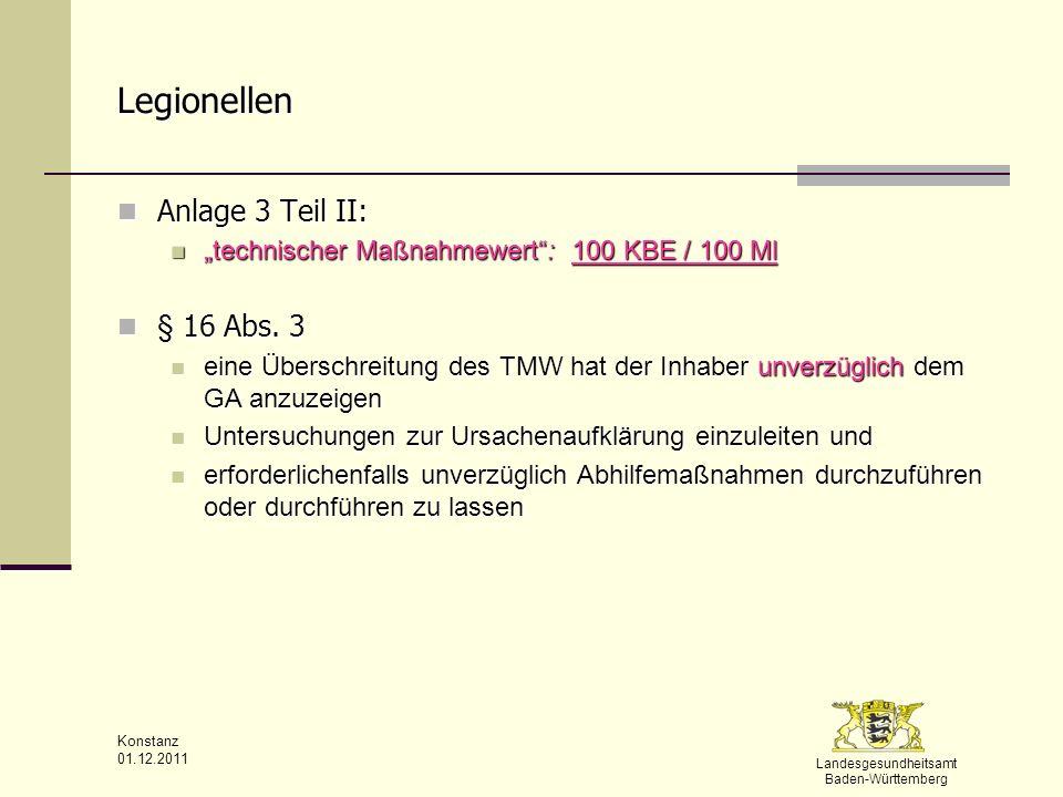 Landesgesundheitsamt Baden-Württemberg Konstanz 01.12.2011 Legionellen Anlage 3 Teil II: Anlage 3 Teil II: technischer Maßnahmewert: 100 KBE / 100 Ml