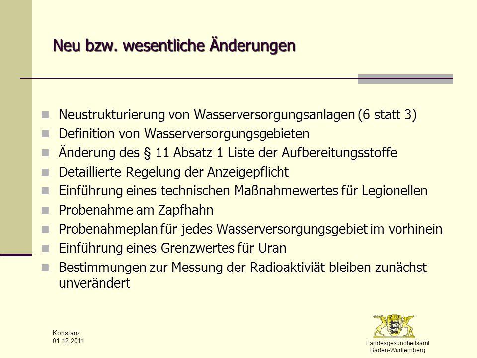 Landesgesundheitsamt Baden-Württemberg Konstanz 01.12.2011 Wesentliche Änderungen Anzeigepflichten § 13 die Anzeigepflichten des WVU sind wesentlich detaillierter aufgeführt die Anzeigepflichten des WVU sind wesentlich detaillierter aufgeführt schriftlich sind dem GA spätestens 4 Wochen vorher anzuzeigen: schriftlich sind dem GA spätestens 4 Wochen vorher anzuzeigen: Errichtung Errichtung erstmalige Inbetriebnahme erstmalige Inbetriebnahme bauliche oder betriebstechnische Veränderungen an WVU bauliche oder betriebstechnische Veränderungen an WVU Übergang des Eigentums oder Nutzungsrecht Übergang des Eigentums oder Nutzungsrecht TI Warmwassergroßanlagen bei gewerblicher oder öffentlicher Abgabe – Bestand, Inbetriebnahme oder wesentliche Änderungen TI Warmwassergroßanlagen bei gewerblicher oder öffentlicher Abgabe – Bestand, Inbetriebnahme oder wesentliche Änderungen