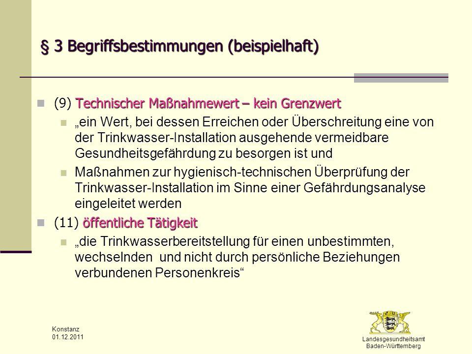 Landesgesundheitsamt Baden-Württemberg Konstanz 01.12.2011 § 15 Untersuchungstellen Es dürfen nur Untersuchungsstellen mit der Untersuchung nach TrinkwV beauftragt werden Es dürfen nur Untersuchungsstellen mit der Untersuchung nach TrinkwV beauftragt werden die Untersuchungsmethoden nach den Vorgaben der Anlage 5 anwenden die Untersuchungsmethoden nach den Vorgaben der Anlage 5 anwenden die ein internes QM sicherstellen die ein internes QM sicherstellen die einmal jährlich an externen Qualitätsprogrammen erfolgreich teilnehmen die einmal jährlich an externen Qualitätsprogrammen erfolgreich teilnehmen über hinreichend qualifiziertes Personal verfügen über hinreichend qualifiziertes Personal verfügen die eine Akkreditierung für Trinkwasseruntersuchungen haben die eine Akkreditierung für Trinkwasseruntersuchungen haben die zuständige oberste Landesbehörde führt eine Liste über zugelassene Untersuchungsstellen, die im Land tätig sind die zuständige oberste Landesbehörde führt eine Liste über zugelassene Untersuchungsstellen, die im Land tätig sind