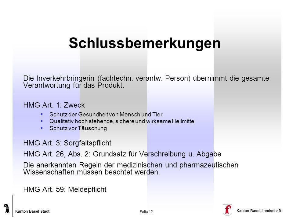 Kanton Basel-Stadt Kanton Basel-Landschaft Folie 12 Die Inverkehrbringerin (fachtechn. verantw. Person) übernimmt die gesamte Verantwortung für das Pr